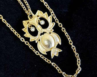 Vintage Owl Double Strand Gold Necklace with Clear Rhinestone Eyes