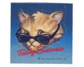 Vintage 80's HALLMARK Stickers ~ CAT Frisky Business Ray-Bans Risky Sunglasses
