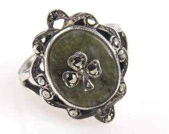 Irish Connemara Marble Marcasite Shamrock Sterling Silver Ring|Vintage Art Deco|Size 6