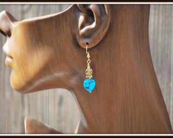 Turquoise Earrings, Genuine Turquoise Earrings, Kingsman Turquoise Earrings, Turquoise and Bronze Earrings