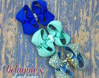 The blues bow set of 3~ boutique bows~ hair bows~ 4 inch ~ triple stacked