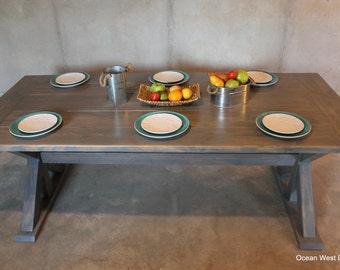 Farmhouse Kitchen Table / Farmhouse Dining Table / Rustic Farmhouse Table / Farm Style Table / Custom & Handcrafted / Farmhouse Trestle