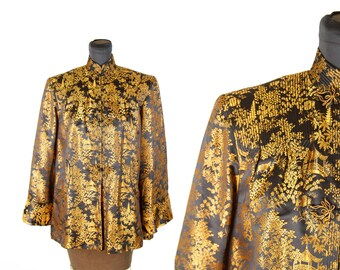 1940s Jacket // Silk Oriental Swing Jacket Black with Gold Brocade Chinoiserie