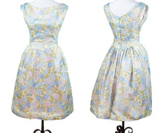 1960s Dress // Blue Floral Nylon Chiffon Full Skirt Sleeveless Garden Party Dress by Lorrie Deb