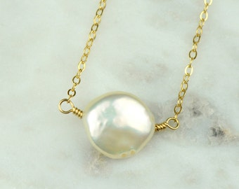 Gold Coin Pearl Necklace | White Coin Pearl Pendant Necklace | Modern Bridal Jewelry | Dainty Gold Necklace NG54