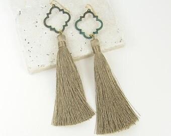 Long Tassel Earrings, Verdigris Earrings, Green Tan Earrings, Long Fringe Earrings, Green Clover Earrings |EC3-56