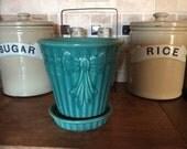 Vintage Shawnee USA Ceramic Flower Pot Large 5.25 inch Celedon Green