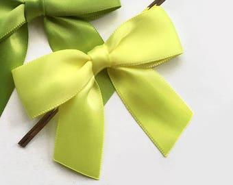 12 Lemon Yellow Pre-made Bow Embellishments