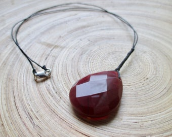 "Carnelian necklace large focal on waxed linen 21"" Seconds!"