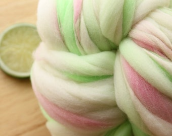 Sweet Pea - Handspun Wool Yarn Pastel Pink Green Thick and Thin Skein