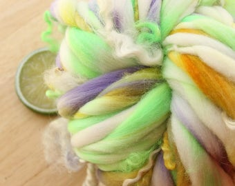 Pansy CURLS - Handspun Merino Wool Yarn Thick and Thin Skein Lavender Yellow Green