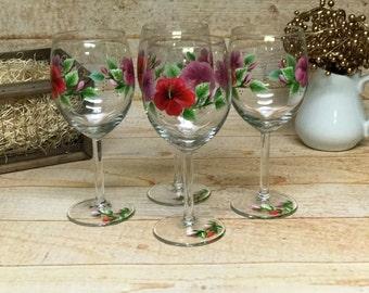 Large Hibiscus Wine Glasses (Set of Four)