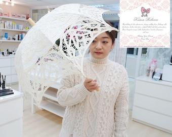 New Pattern For Wedding Flower Girl Handmade Battenburg Lace Vintage Umbrella Parasol Ivory