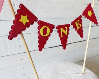 Red & Yellow First Birthday Smash Cake Topper - Circus, Carnival Party