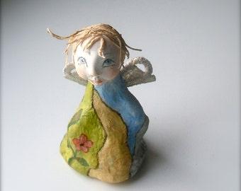 Primitive Paper Mache Folk Art Angel - Paper Mache Art Sculpture - Handmade Original OOAK Papier Mache Sculpture - Home decor