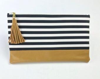 Black White Stripe Clutch, Bridesmaid Gift Clutch, Bridal Purse, Wedding gift set, Leather Tassel Bag, Black and White Modern Clutch