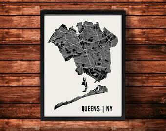 Queens Map Art Print | Queens Print | Queens Art Print | Queens Poster | Queens Gift | Wall Art