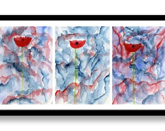 Original Abstract poppy watercolor paintings Triptych, watercolor flowers, Wall art, desk art, poppies,modern