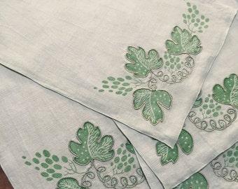 Big Sale Four Retro Linen Handprint Placemats, Pale Green, Metallic Couched Thread