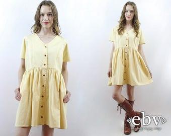 Yellow Dress 90s Babydoll Dress Summer Dress Cotton Dress Pale Yellow Dress Pastel Dress 1990s Dress 90s Dress 90s Mini Dress M L