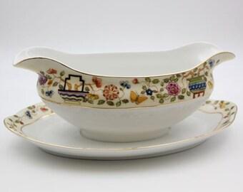 Antique Mandarin c. 1912 Noritake Nippon Gravy Boat Fine China Dinner Party Bridal Wedding Flower Vase Pot #507