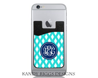 Monogram iphone Case-Personalized iPhone Credit Card Holder-Adhesive iPhone Card Holder-Cell Phone Card Caddy-ID Credit Card Holder