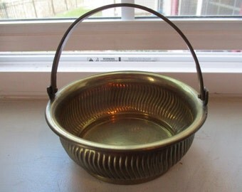 Vintage Solid Brass Handled Basket - Made in India for Gatco