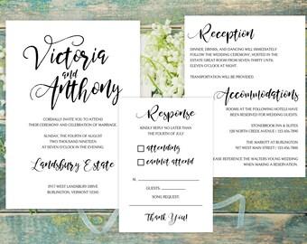 SAMPLE Wedding Invitation Suite - Classic Cheer Wedding Invite Suite SAMPLE - Personalized Wedding Invitations - Full Wedding Suites
