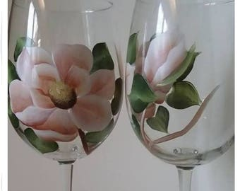 Hand painted 17 ounce magnolia wine glasses