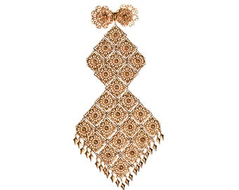 Massive Gold Filigree Brooch, 1960s, Designer Vintage Jewelry
