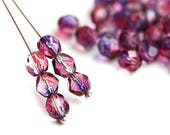 6mm Purple Pink Fire polished coated beads, czech glass round faceted spacers - 1820