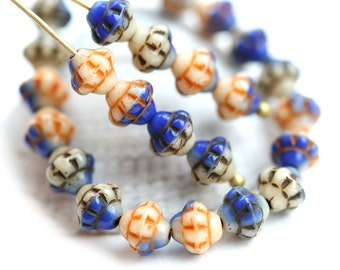 40pc Fancy bicone beads Mix, Patchwork, Blue, Beige, Orange, Czech Glass pressed - 6mm - 0366