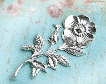 30%OFF SALE Rosehip branch stamping, Silver, flower, bloom, pendant, charm, 45mm - 1Pc - F100