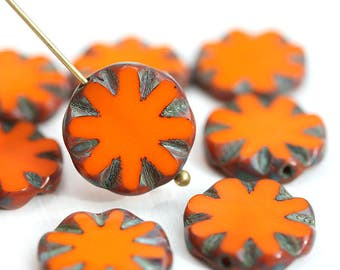 14mm Orange round flat beads, Coin shape czech glass Picasso beads - 8Pc - 2928