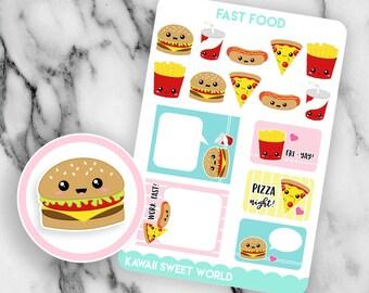 Kawaii Fast Food | Planner Sticker Sheet