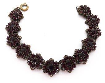 Vintage Red Garnet Glass Cluster Panel Bracelet