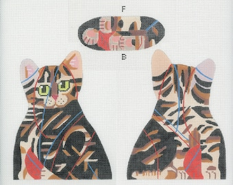 Needlepoint Cat Canvas - Tabby Kitten front, back and bottom