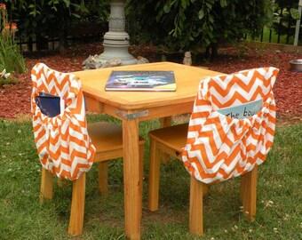 InStock PREMIUM Chair Pockets Teacher Classroom Seat Sacks Organization Expandable Pocket Sack in Chevron Willow Duck Cloth