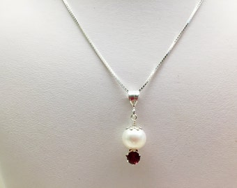 White Freshwater Pearl and Garnet Pendant Adjustable Necklace