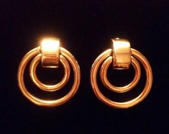 Signed BEN AMUN Doorknocker Double Hoop gold tone clip back Vintage Earrings