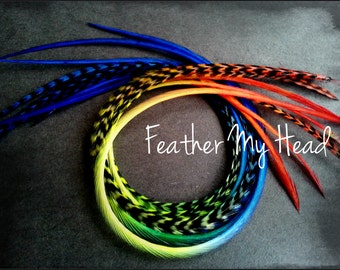 """Feather Hair Extensions - Multi Color Medium Length 7"""" - 9"""" (18-23cm) Long - 5 Pc - Red Yellow Green Blue - Rainbow Skittles"""