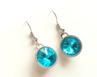 ON SALE Light Blue Rivoli Earrings, Blue Water, Aquamarine, Drop, Dangle, Gift for Girlfriend