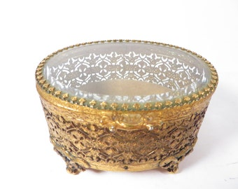 Vintage Gold Filigree Oval Jewelry Box - Beveled Glass Top Jewelry Casket