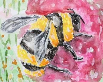 Bee - Original Art Painting 6x6 in.
