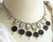 Rhinestone necklace black...
