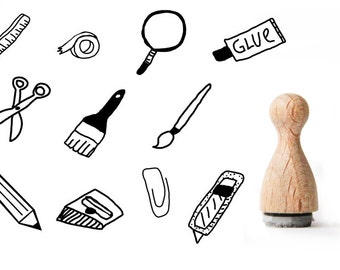 Tiny rubber stamp stationery, Cardboard Cutter Rubber Stamp, Sciccors rubber stamp, Washi Tape rubber stamp, paper clip rubber stamp
