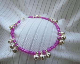 Dark Transparent Fuschia Magenta Hot Pink and Silver Dancing Bells Anklet