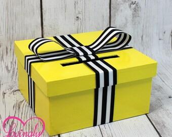 Mini Card Box - Size 8 x 8 x 4 - Bee Yellow Box with White & Black Striped Ribbon-  Baby Shower, Birthday - Advise Game Box, Raffle Box
