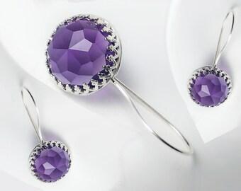 Amethyst Sterling Silver Earrings. One Pair of Sterling Silver and Purple Amethyst Earrings