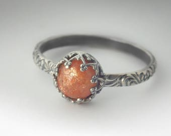 Sterling Silver Sunstone Ring, Custom created in your size, Orange Gemstone Ring, Pattern Ring, Promise ring, Sterling Silver Pattern Band